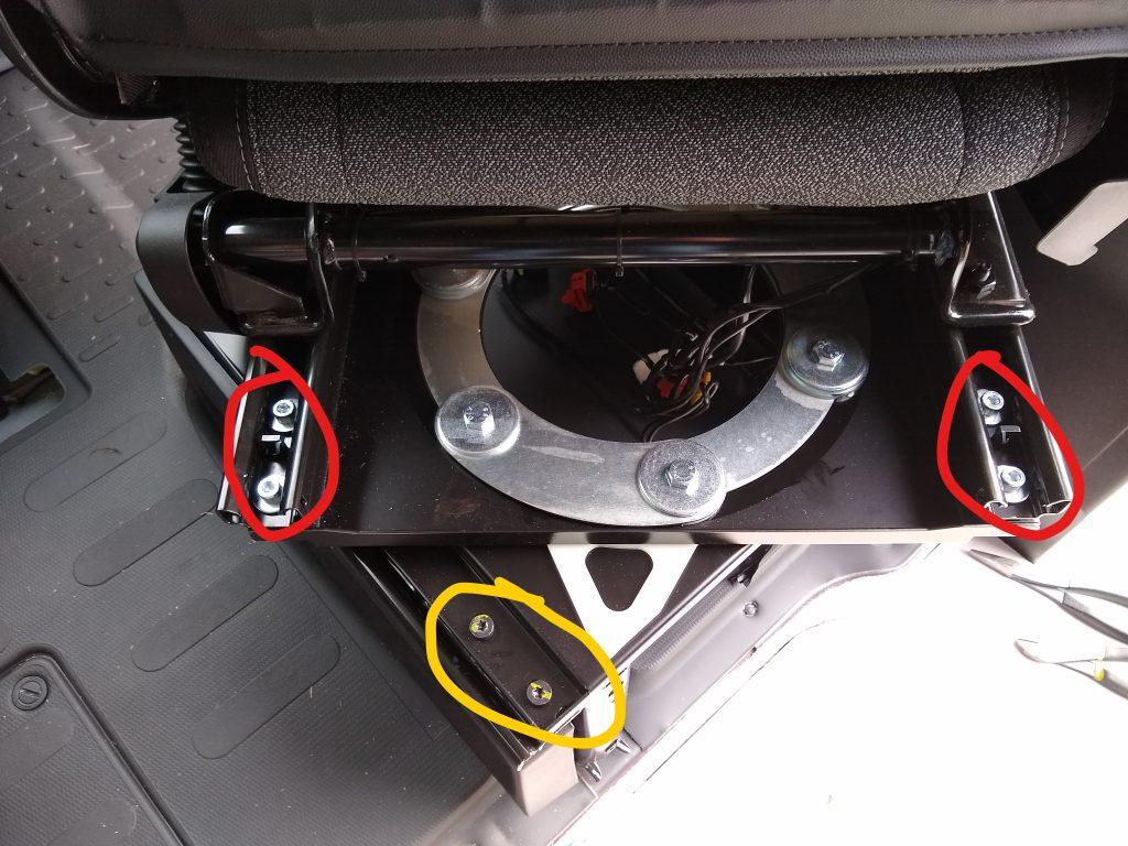 Promaster seat swivel bolt locations