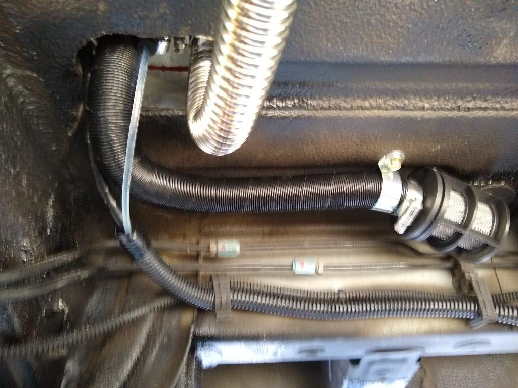 Diesel parking heater underneath the DIY RV van