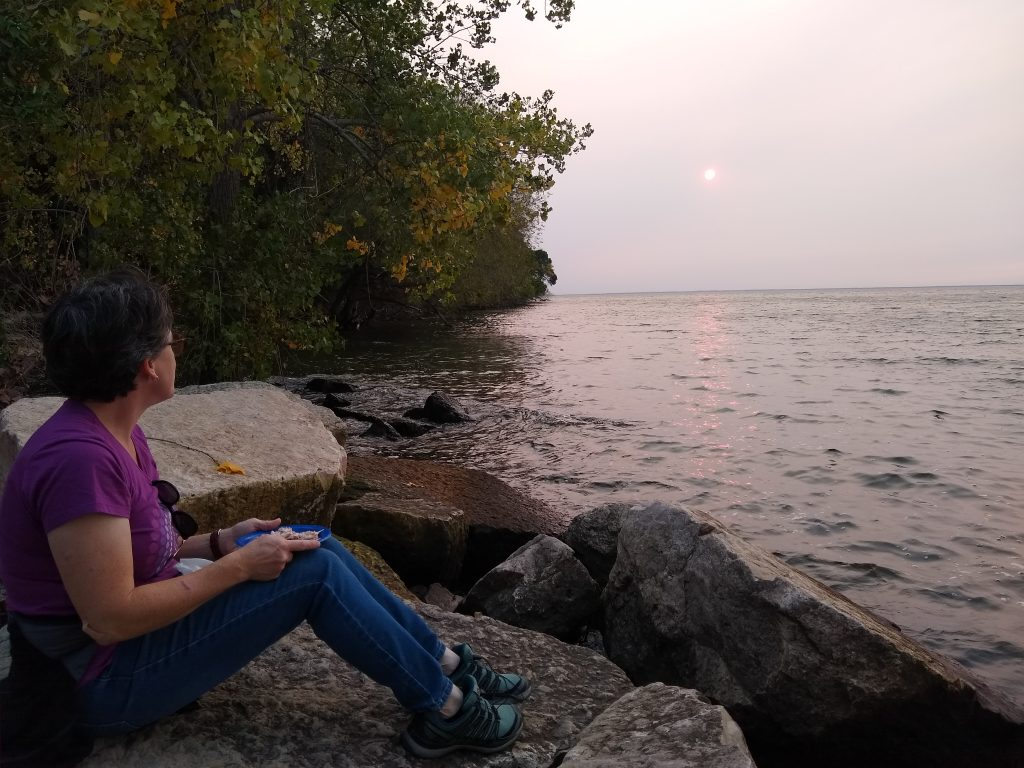 Sunset picnic on the shore of Green Bay