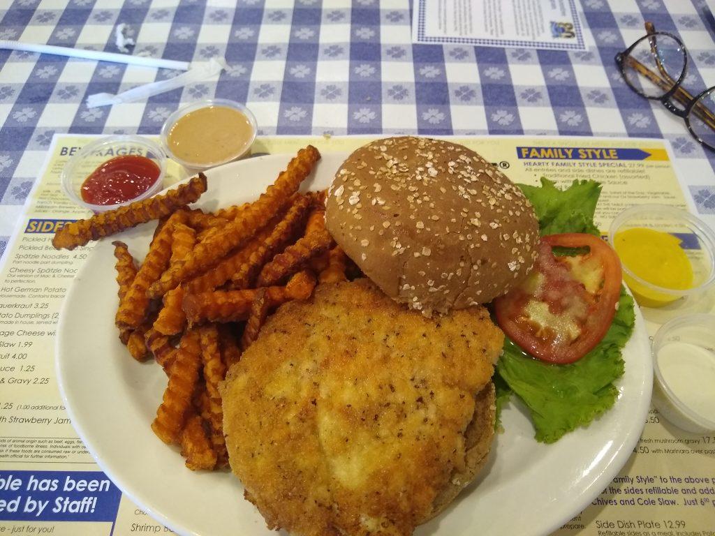 Chicken schnitzel for lunch