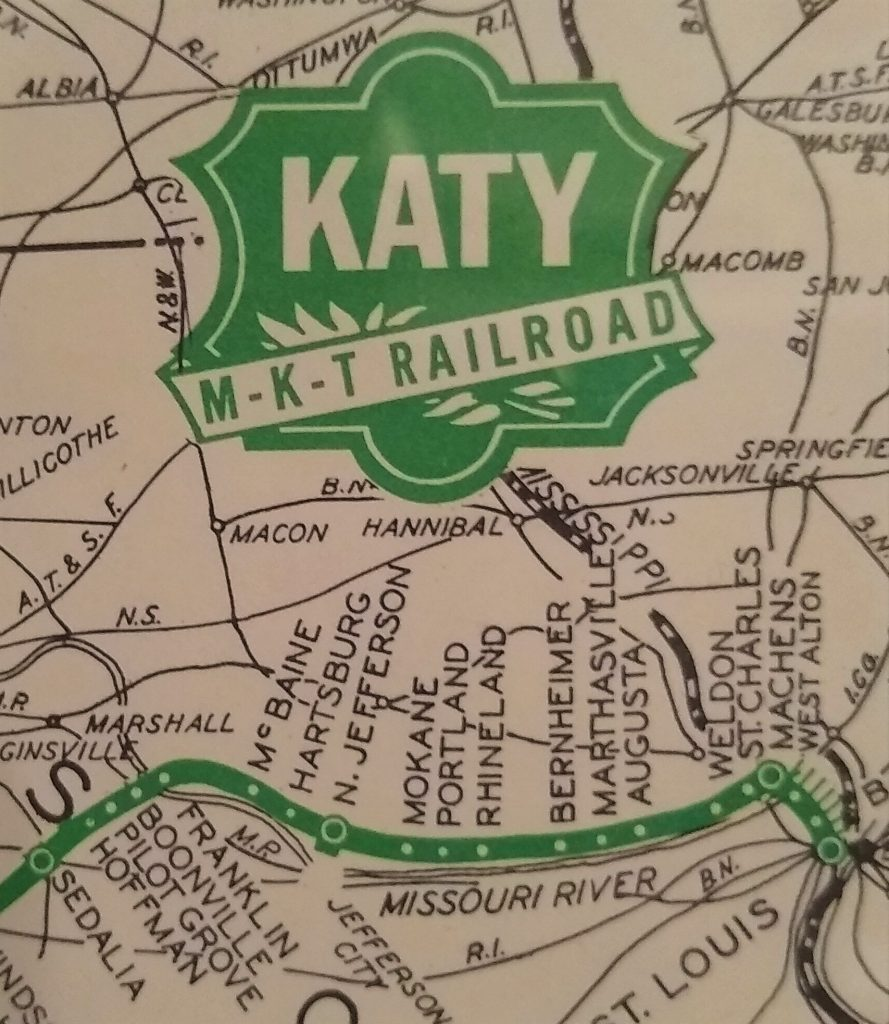 Antique Katy (MKT) railroad map showing Marthasville, MO
