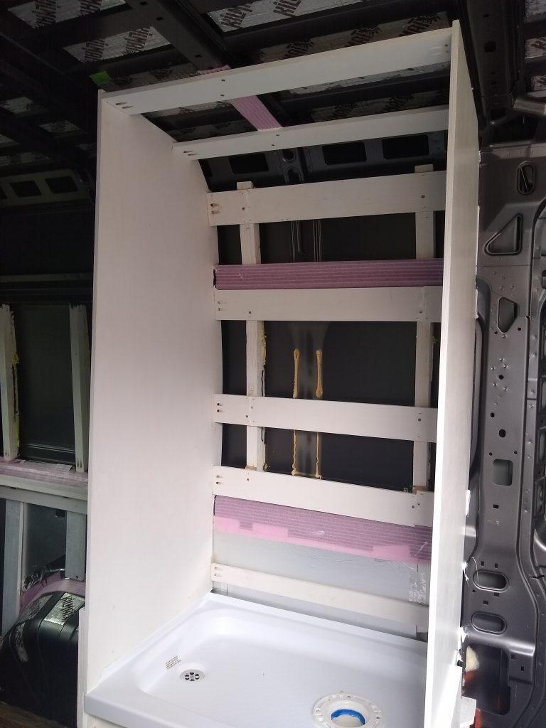Wet bath shower walls installed for our DIY RV camper van