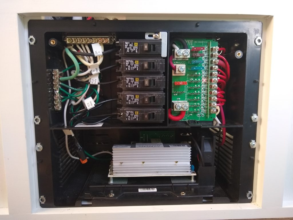 WFCO distribution panel for 120 volts and 12 volts