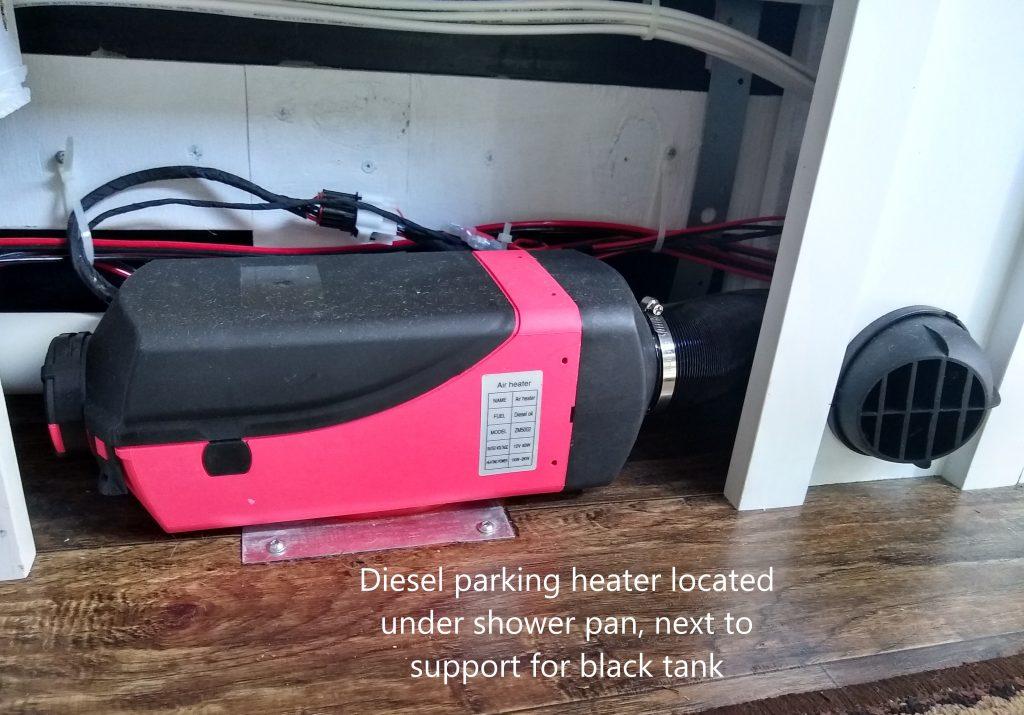 Diesel air parking heater for heating the camper van interior space