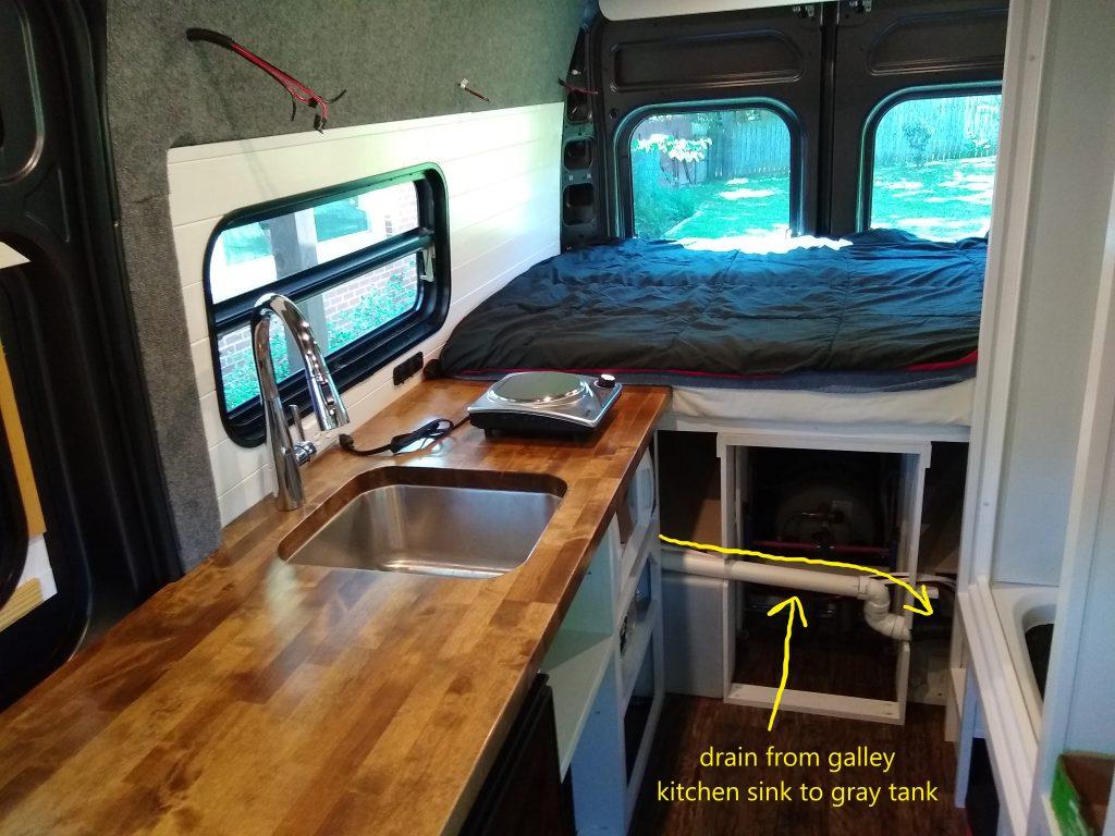 Galley sink drain to gray tank in the camper van