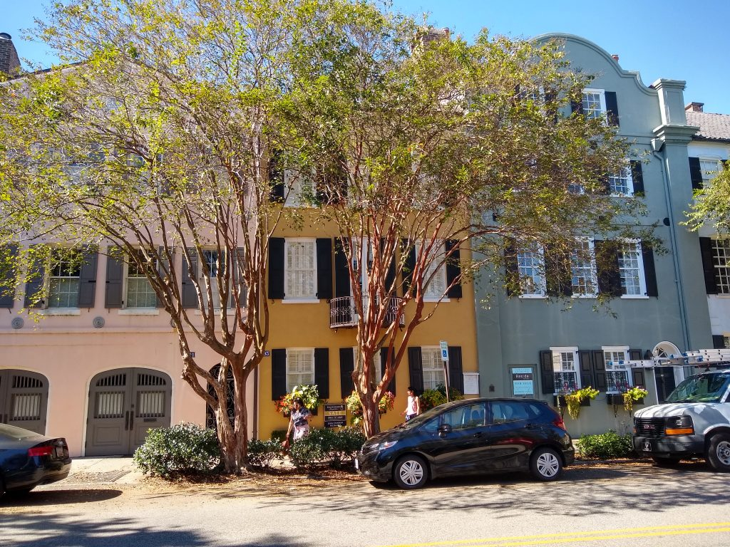 Rainbow row in Charleston (named for colorful paint)