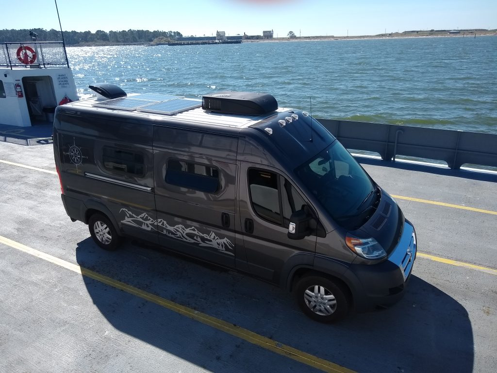 WanderVan on the ferry from Fort Morgan to Dauphin Island, Alabama