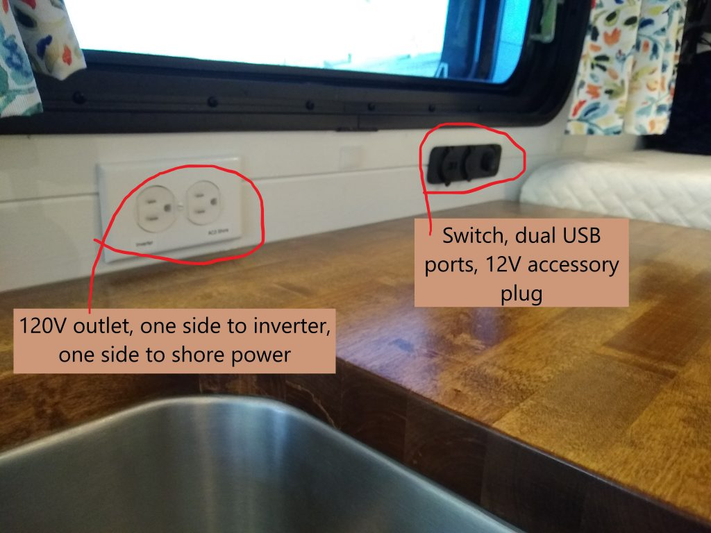 120 volt outlet and 12 volt plugs above the galley counter top