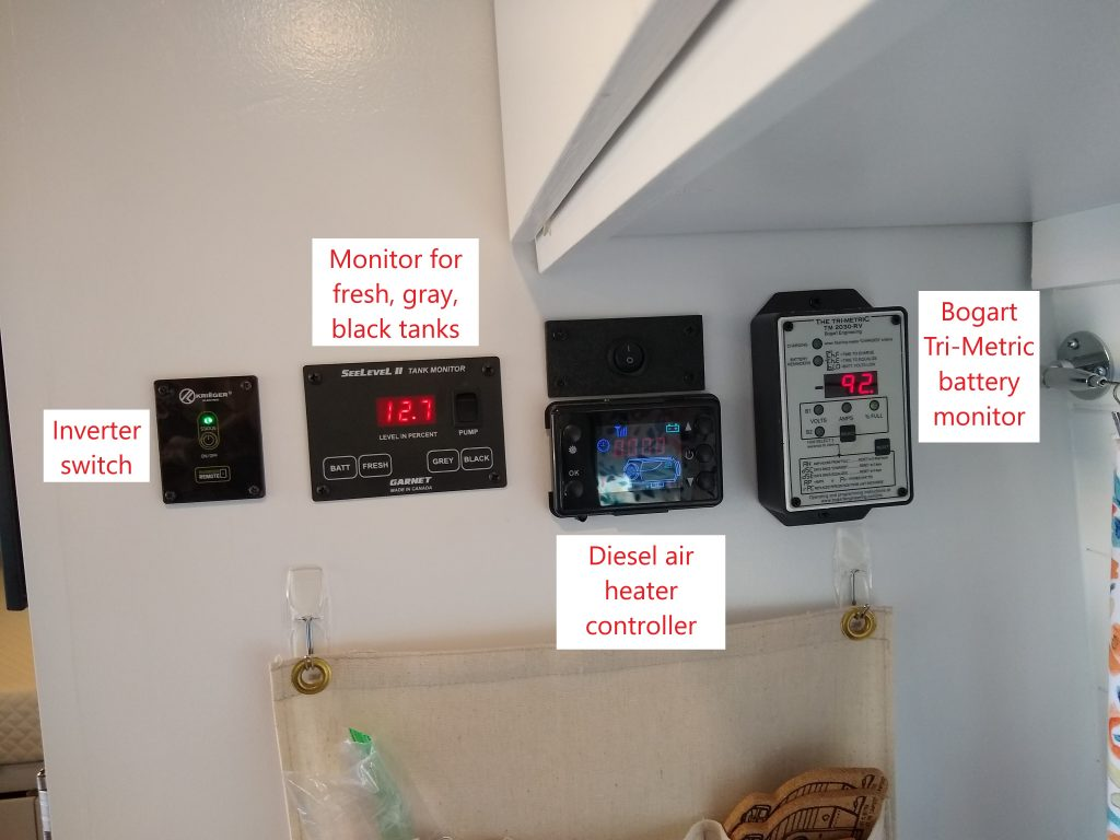 Van electrical controls: inverter, tank meters, air heater, and battery monitor