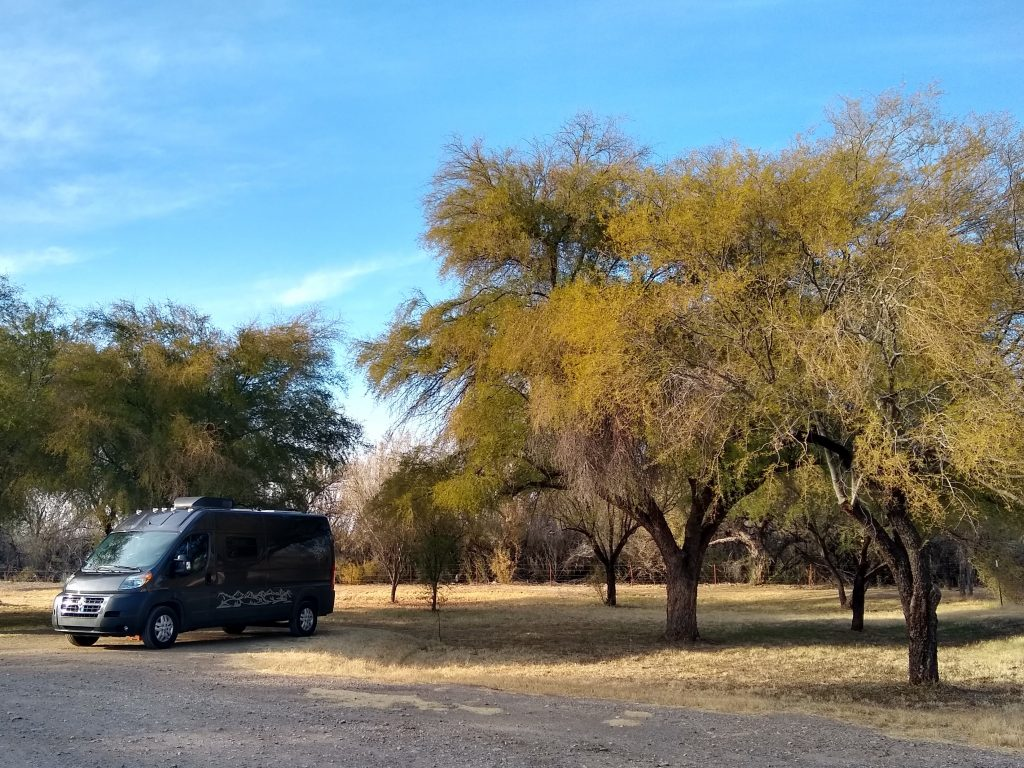 Our campsite in the Cottonwood Campground beside the Rio Grande