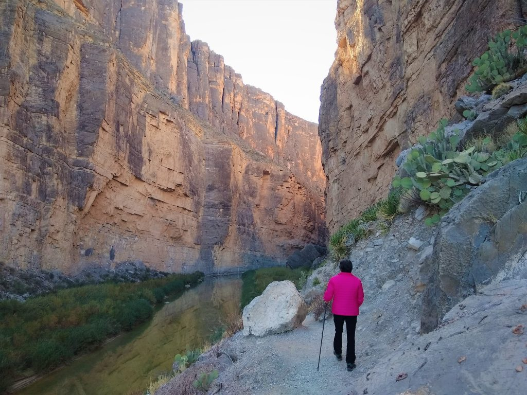 Hiking into Santa Elena Canyon at the west end of Big Bend, one of or favorite hikes